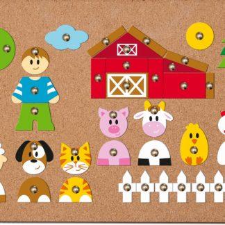 WOODY Korková deska s přibíjejícími tvary - Zvířátka