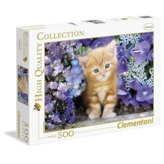 Puzzle 500 dílků Kotě v květinách